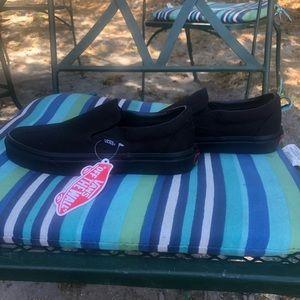 Vans all black slip on shoes
